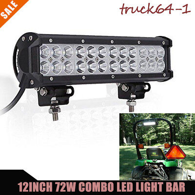 72w 12in Combo Beam Led Light Bar For Tractor Combine Industrial Backhoe Deere