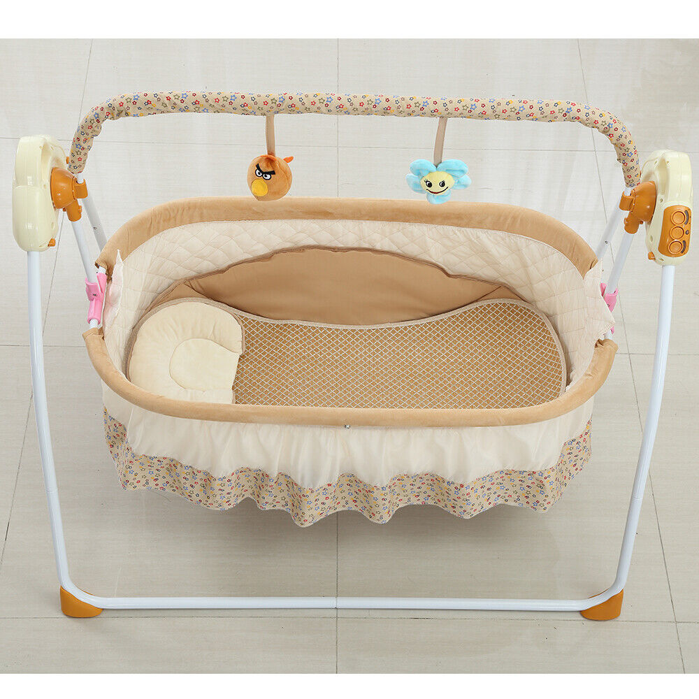Electric Baby Crib Cradle Infant Rocker Auto Swing Bed