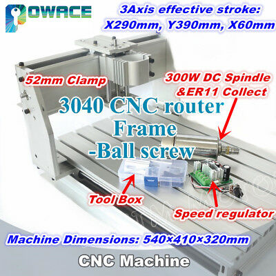 3040 Ball Screw Cnc Wood Router Engraving Machine Kit 52mm300w Er11 Dc Spindle