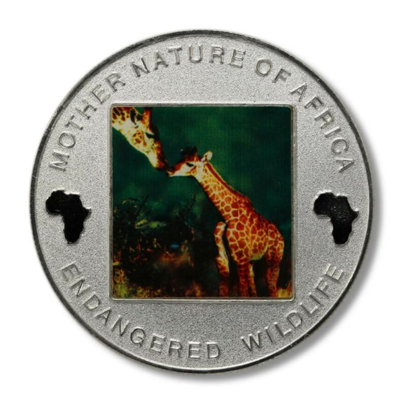 Malawi Mother Nature of Africa Giraffe & Calf 10 Kwacha 2004 Proof Color Crown K