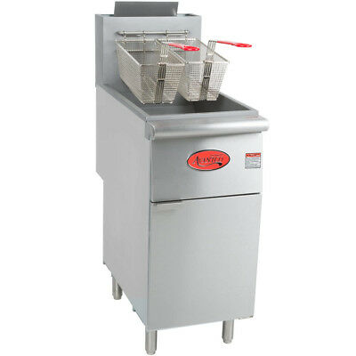 40 Lb. Commercial Restaurant Natural Gas Stainless Steel Floor Deep Fryer