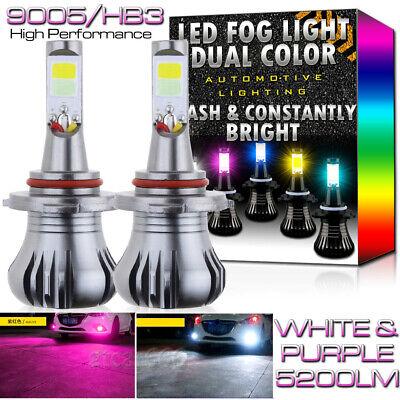 9005 9145 H10 High Power Dual Color 2-Mode Flash Blinking LED Fog DRL Light