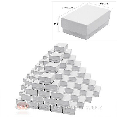 """100 White Swirl Cardboard Cotton Filled Jewelry Gift Boxes 2 5/8"""" X 1 1/2"""" X1"""""""