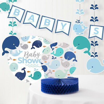 Blue Baby Whale Baby Shower Decorations - Baby Blue Baby
