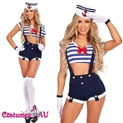 Ladies Sailor Uniform Navy Costume 50s Rockabilly Pin Up Fancy Dress Up & Hat](50s Dress Up)