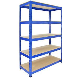 1-Racking-Bay-120cm-Garage-Shelves-Storage-Warehouse-Shelving-Unit-Steel-5-Tier