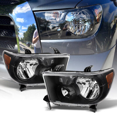 - For 2007-2013 Toyota Tundra 2008-2017 Sequoia Black Headlights lamps Left+Right