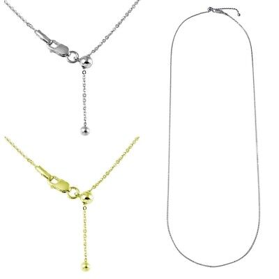 Sterling Silver Adjustable Slider Rolo Chain Necklace w/ Bead (Bead Chain Necklace)