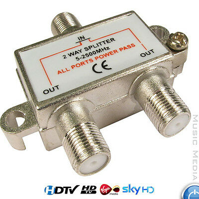 Splitter Combiner 5-2400mhz 2 Way Digital TV Coax Aerial Cable Satellite Signal