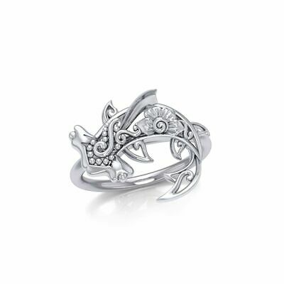 Hammerhead Shark Filigree Floral Sterling Silver Ring by Peter Stone Jewelry  ()