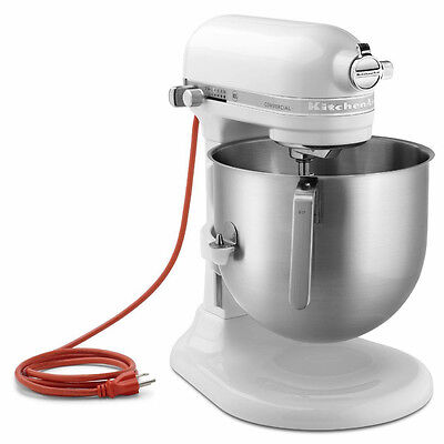 KitchenAid KSM8990WH Commercial NSF 8-Qt Bowl Lift Stand Mixer, White