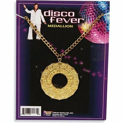 Medallion Necklace 70's Disco Fever Fancy Dress Halloween Costume Accessory](Halloween Costume Gold Medal)
