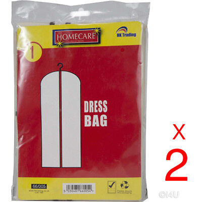 2 X DRESS BAGS HANGING WEDDING BRIDAL PROM GARMENT GOWN COVER SUIT PROTECTOR