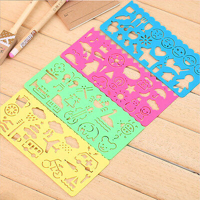 New Plastic Picture Drawing Template Stencils Rulers Painting Kids DIY Making