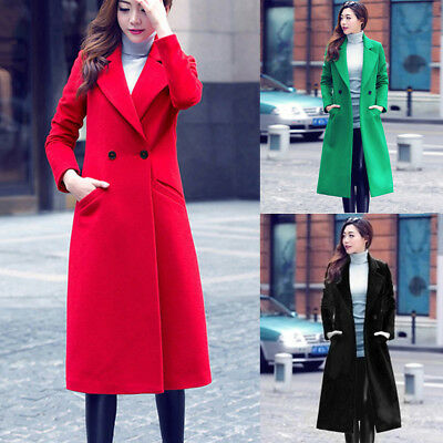 Women Casual Maxi Autumn Winter Long Woolen Coat Overcoat Parka Outwear Cardigan