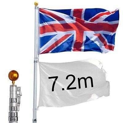 YesHom 7.2m/25ft Aluminum Telescopic Flag Pole Flagpole Union Jack Gold Ball Kit