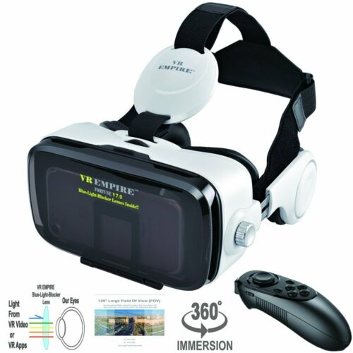 VR Headset with VR Remote with 120° FOV & Anti-Blue-Light Lens(White)