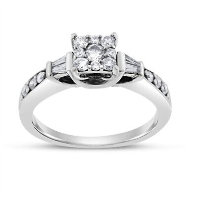0.60 Ct. Natural Diamond Illusion Set Square Promise Ring In Solid 14k White Gol