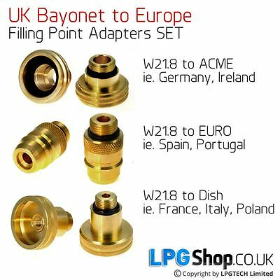 UK Bayonet W218 to All Europe Adapters SET Autogas LPG
