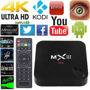 4K MXIII MX3 XBMC KODI Android 4.4 Smart TV BOX Media Player Streamer Wifi 1G+8G