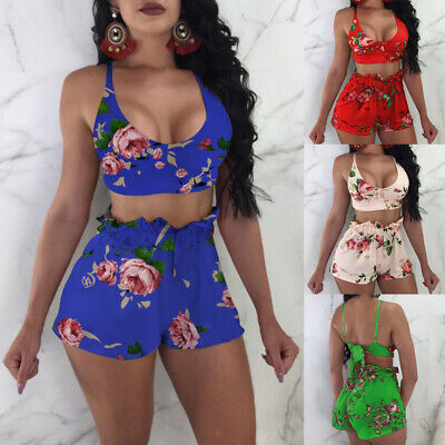 Women 2 Piece Outfits Sleeveless Crop Top Pants Set Casual Jumpsuit Rompers