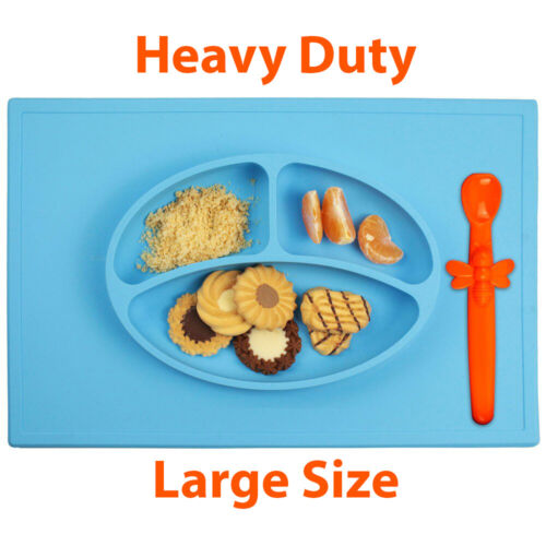 Silicone Baby Placemat 3 Compartments Food Plate with Silicone Spoon Included