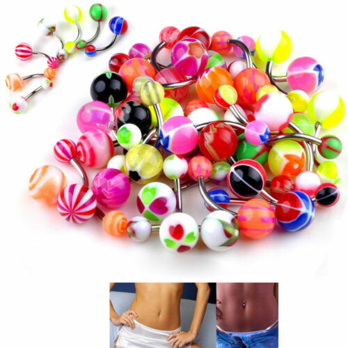 Lot 50pc 14g Belly Button Navel Rings Mix Color Stainless Barbell Wholesale NEW