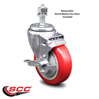 Poly Swvl Threaded Stem Caster W4 Red Wheel And 12 Stemtop Lock Brake