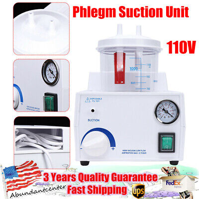 110v Portable Phlegm Suction Unit Quiet Vacuum Medical Aspirator Machine 1000ml