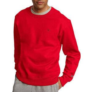2 Champion Men's PowerBlend Fleece Pullover Crews S0888 M Team Red Scarlet