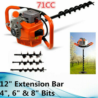 71cc 2 Stroke Gas Powered Post Hole Digger Auger Borer Fence Drill468 Bits