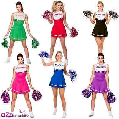 Cheerleader Fancy Dress Costumes Womens Ladies High School - Cheerleader Kostüm Fancy Dress