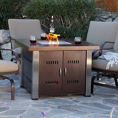 AZ Patio Heaters Antique Bronze and Stainless Steel 38 in. Fire Table