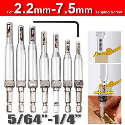 4-7PCS Self Centering Lock Hinge Drill Bit Set Hardware Drawer Hole Guides -