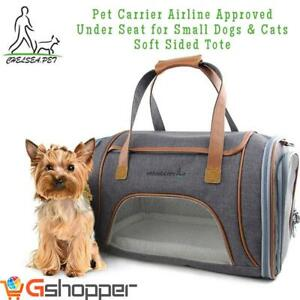 NEW Pet Carrier Airline Approved Under Seat for Small Dogs  Cats , Soft Sided Tote with Fleece Puppy Bedding  Safety ...