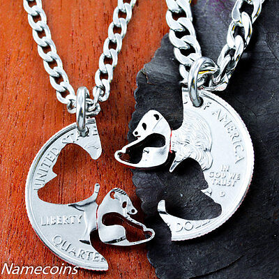 - Panda Necklace set, Asian Jewelry, Interlocking Couples Necklaces, Hand Cut Coin