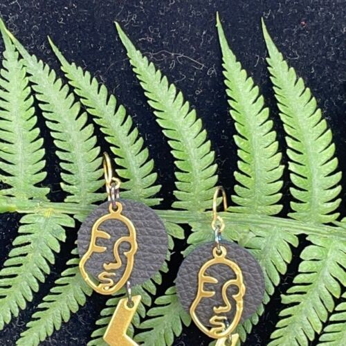 Adorned Crown Artisan Geometric Face Leather Earrings Brass Charms - $16.00