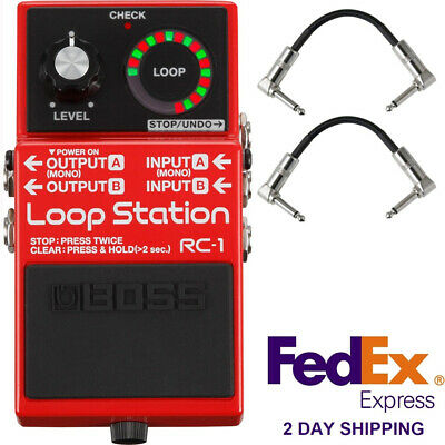 BOSS RC-1 Loop Station Stereo Looping Guitar Effects Stompbox Pedal + Cables