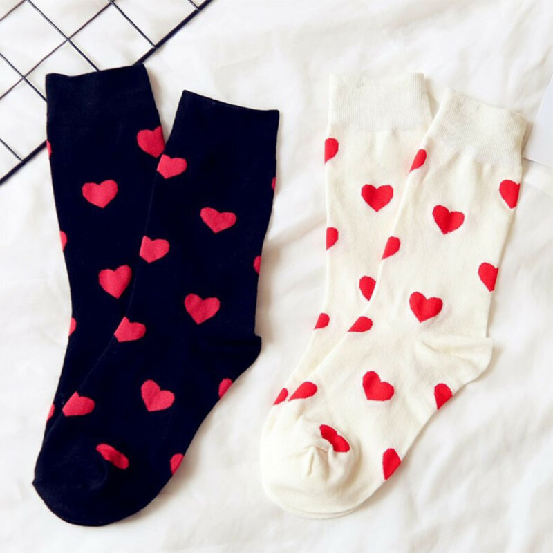 1 Pair Women Heart Socks Female Sweet Long Tube Autumn and Winter Cotton Socks Z