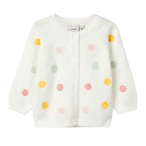 Baby Strick Jacke NAME IT Klein Kinder Mädchen Cardigan Dots Punkte Natur Weiß