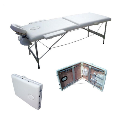 2 Fold Portable Massage Table Facial SPA Bed Tattoo w/Carry Case Aluminum White