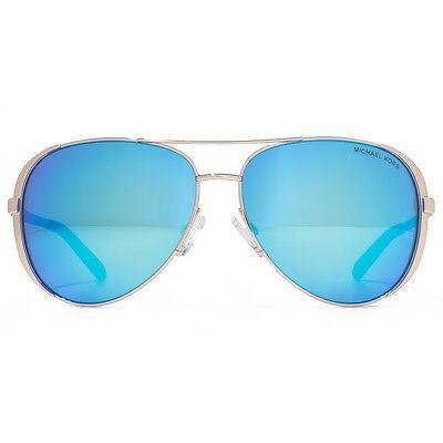 NWT Michael Kors Sunglasses MK 5004 100325 Rose Gold / Mirrored Blue 59 mm NIB
