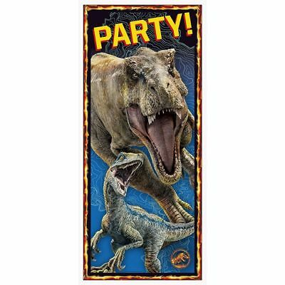 JURASSIC WORLD Door Cover T-Rex Blue Party Decorations Wall Scene Park Dinosaurs