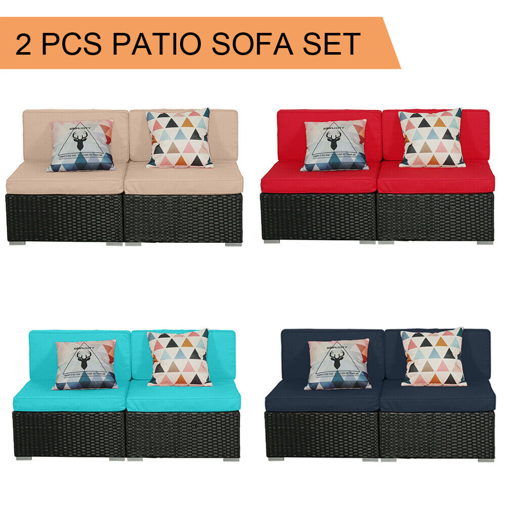 Garden Furniture - 2 PCS Patio Outdoor Wicker Rattan Furniture Garden Sofa Set Cushions Couch