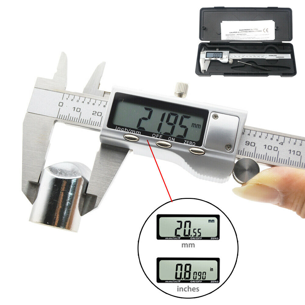 6″ 150mm Electronic Digital Vernier Caliper Stainless Steel Micrometer Guage LCD Business & Industrial