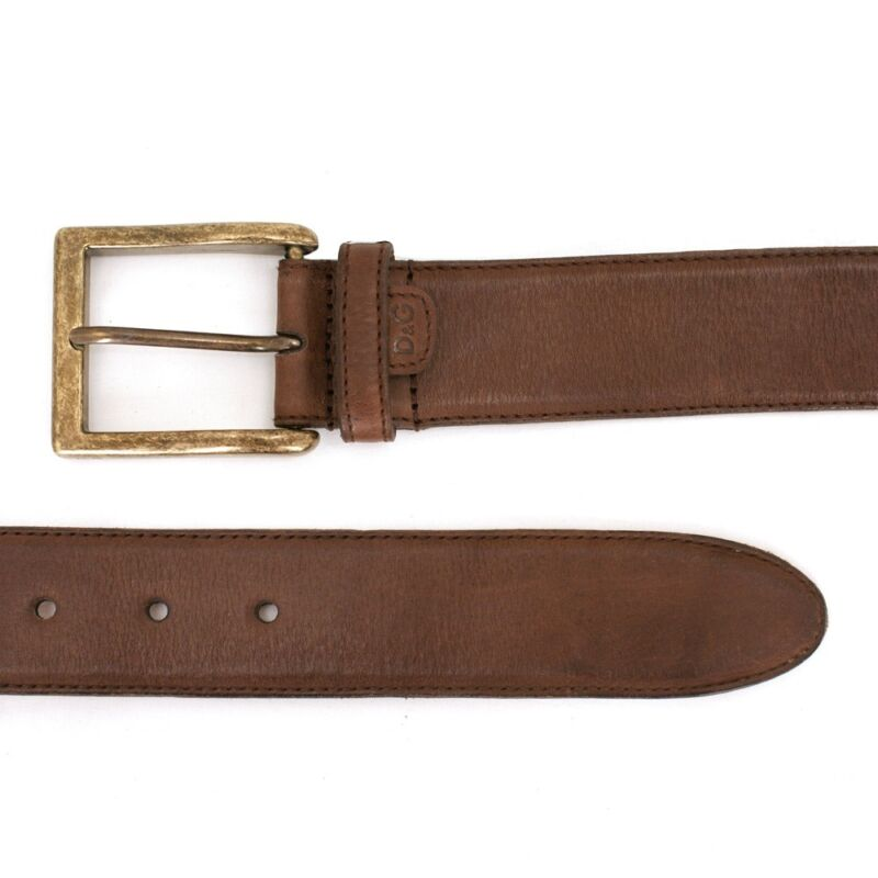 NEW D/&G Dolce /& Gabbana Brown Belt with Gold Buckle GENUINE RRP £210 BNWT