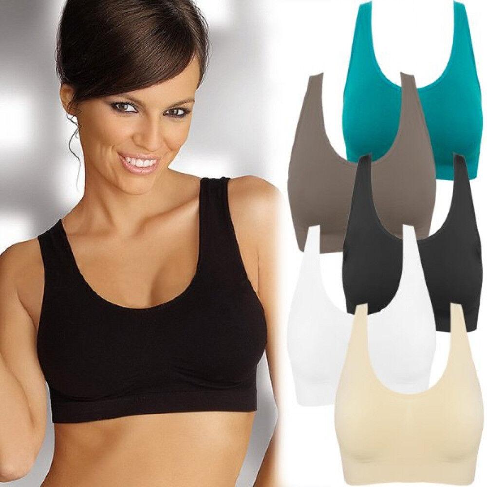 Sport BH Damen Unterwäsche Frauen Sport Fitness Bustier weiss beige braun grün