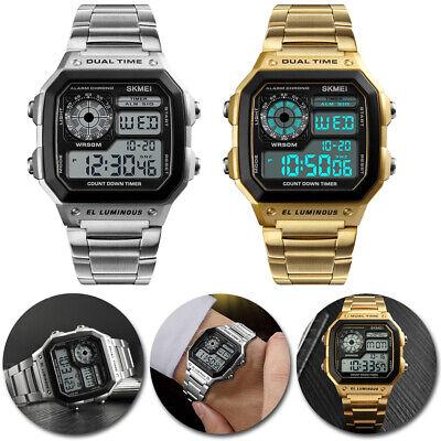 BEST Men Waterproof Alarm Stainless Steel Digital Square Wrist Watch US