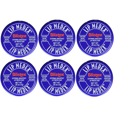 Blistex Lip Medex Cooling Relief for Sore Lips & Moisture 0.25 oz Each (6 - Cool Lips
