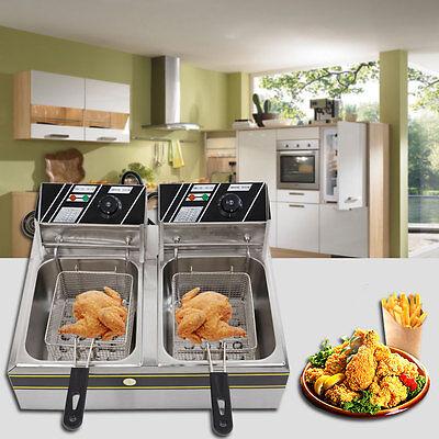 5000w Electric Countertop Deep Fryer Dual Tank Commercial Restaurant W Baskets